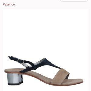 Peserico Tan Black Suede Sandal 37